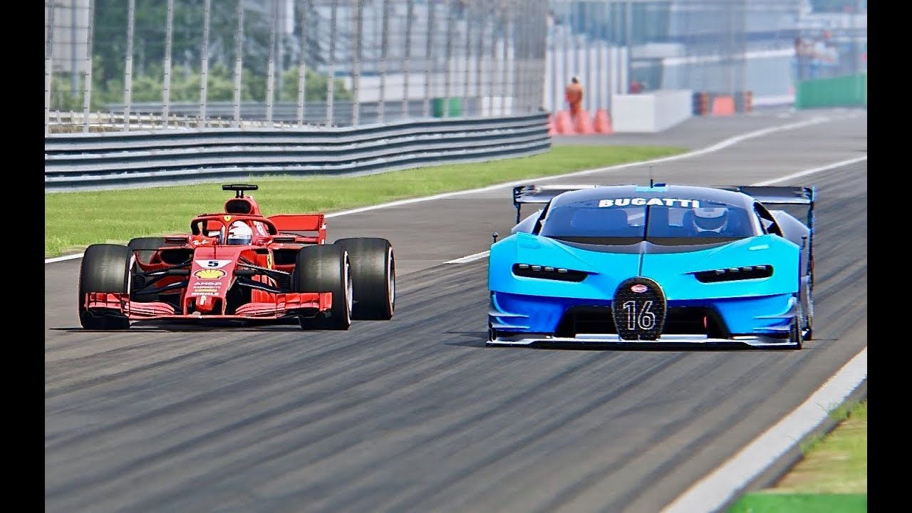 ferrari f1 2018 vs bugatti vision gran turismo monza youtube. Black Bedroom Furniture Sets. Home Design Ideas