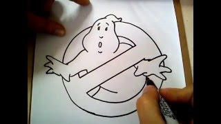 COMO DIBUJAR EL LOGO DE LOS CAZAFANTASMAS / HOW TO DRAW THE GHOSTBUSTERS LOGO