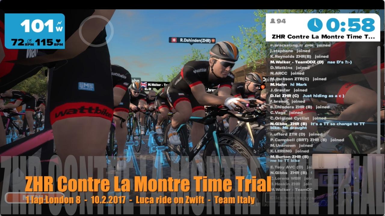 ZHR Contre La Montre Time Trial - London 8 - 10 2 2017 - Luca ride on Zwift