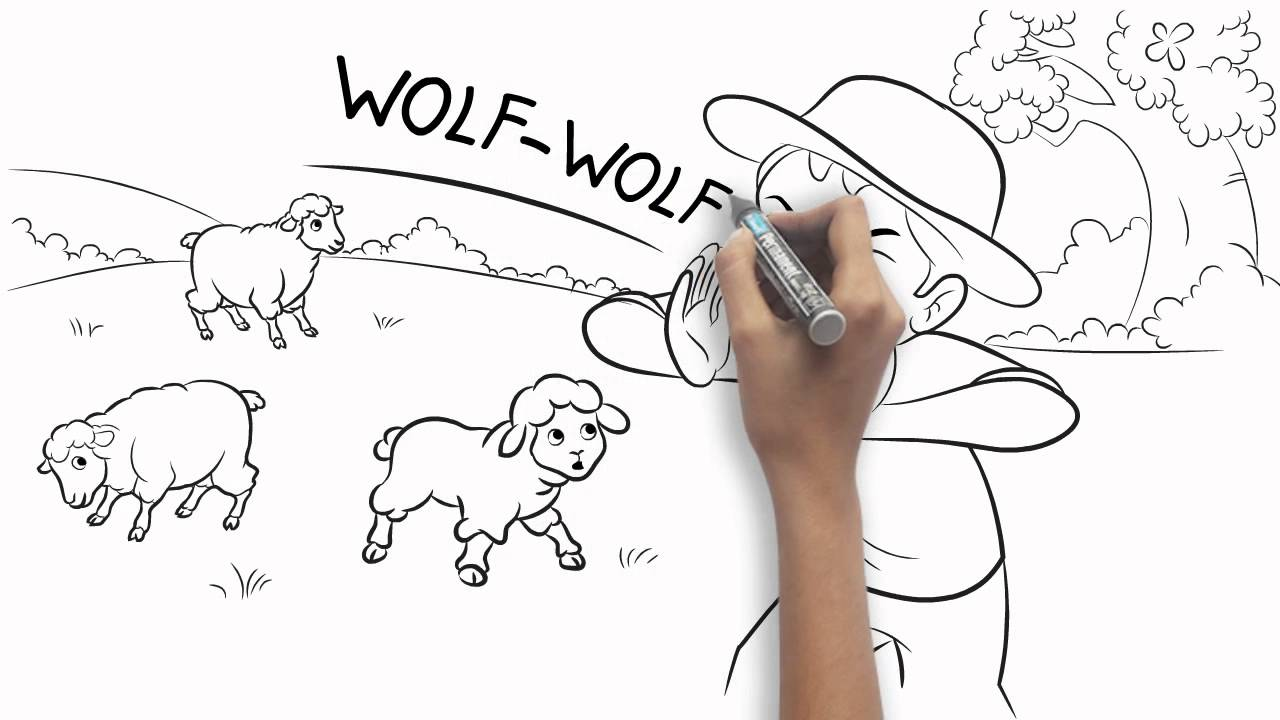 The Boy Who Cried Wolf Colouring Sheets Thestout