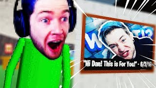 DanTDM Secret POSTER in FORTNITE BALDI MOD! Baldi's Basics TELEPORTING OUTSIDE!