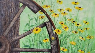 Easy Rustic Wagon Wheel with Daisies Acrylic Painting LIVE Tutorial