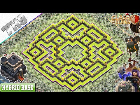 NEW TH9 Base 2019 With REPLAY | Anti 3/2 Star TH9 Hybrid Base With Copy Link - Clash Of Clans
