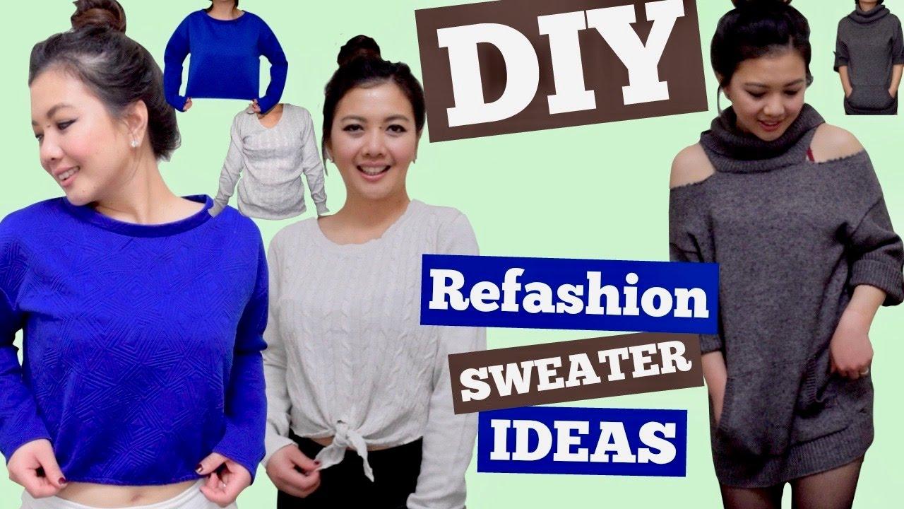 57006bdf24c89 DIY REFASHION SWEATER IDEAS Sweater Hack Cold Shoulder Cut Out Shoulder Front  Tie Crop Top NO SEW - YouTube