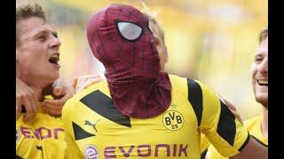 Comedy football Spiderman man defender saves goal
