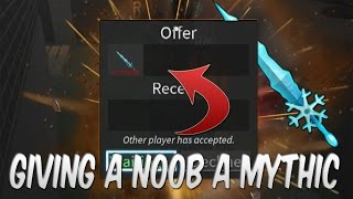 GIVING A NOOB AN ICE ANCIENT! (ROBLOX Assassin)