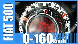 Fiat 500 TwinAir NICE! 0-165 km/h Acceleration Test Beschleunigung