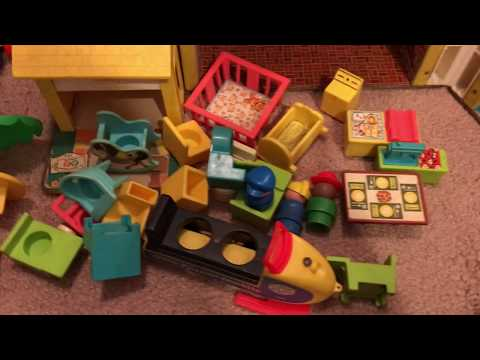 Sorting Through A Box Of Vintage Toys - Fisher Price Little People