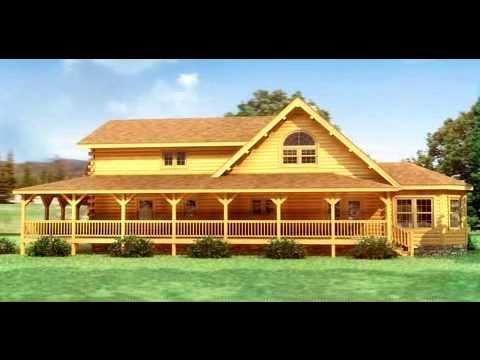 Casas de madera maciza modelo canyon falls en 3d youtube for Modelos de casas procrear clasica