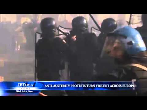 Anti-austerity protests turn violent across Europe