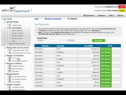eSmart Paycheck: Manage Tax Payments