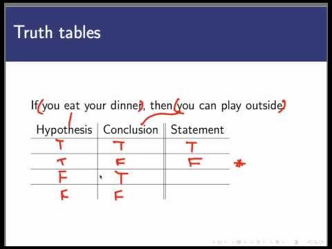Truth tables for conditional statements (Screencast 1.1.5)