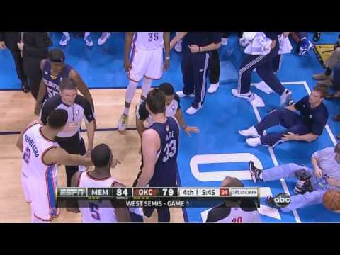 Marc Gasol hustles for loose ball knocks down referee Bill Kennedy Thunder-Grizzlies Game 1
