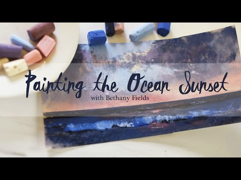 How to paint the Ocean Sunset - Pastel Painting Tutorial by Bethany Fields