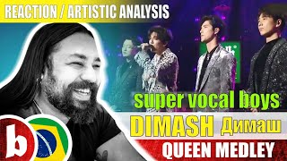 DIMASH & SUPER VOCAL BOYS! Queen Medley - Reaction Reação & Artistic Analysis (UBS)