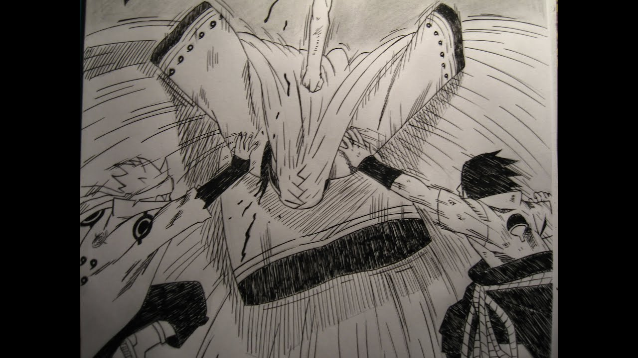 Drawing naruto manga 689 naruto sasuke sakura vs kaguya youtube