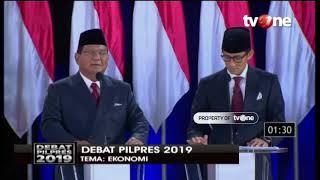 Debat Pilpres 2019, Prabowo Sebut Ekonomi Indonesia Salah Arah