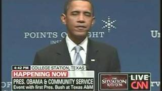 Obama Praises Bush Family At Texas A&M