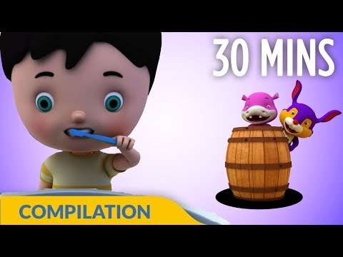 Brush Our Teeth | Good Habits Songs | 3D Nursery Rhymes for Kids and Children I 30 Mins Baby Songs