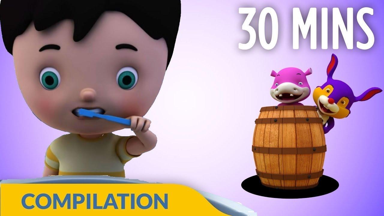 Brush Our Teeth | Good Habits Songs | 3D Nursery Rhymes for Children | Hippy Hoppy Show I 30 Mins
