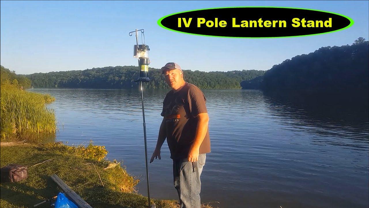 Night fishing IV pole lantern stand - YouTube