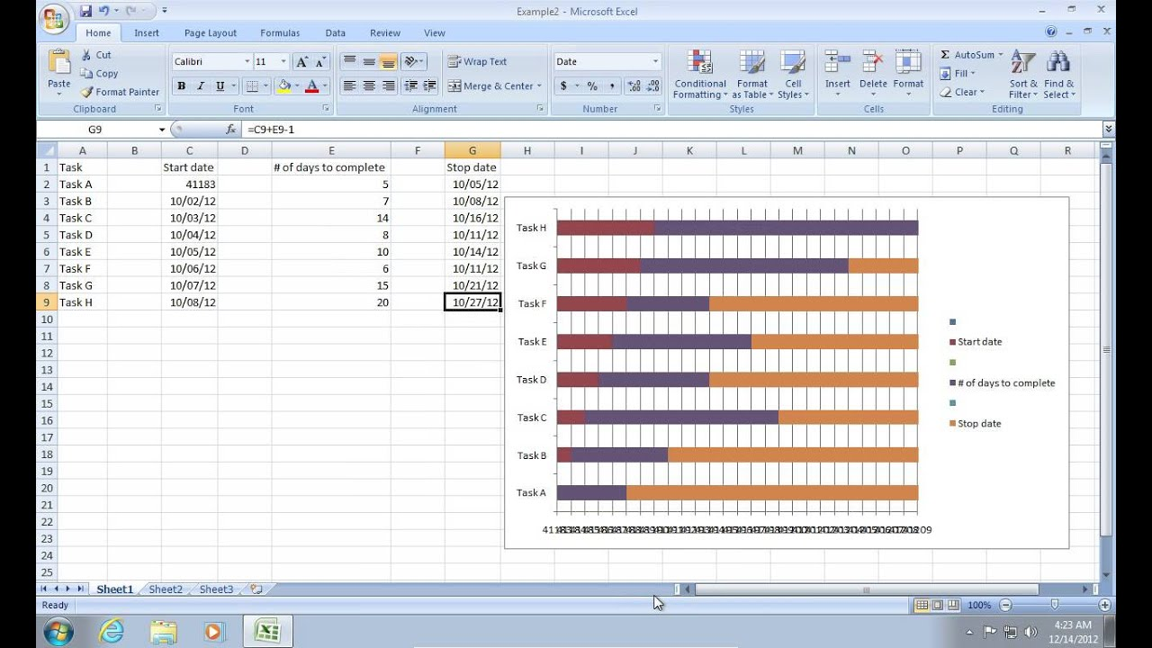 how to make excel 2007 gantt chart youtube