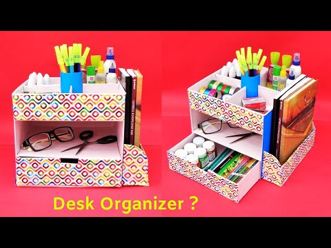 DIY Desk organizer from cardboard box | Best out of waste | Space saving room organizer