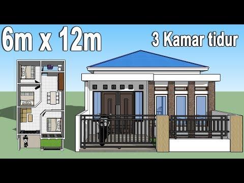 Desain Rumah Minimalis 6x12 3 Kamar Tidur Youtube