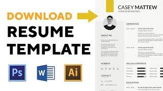 DOWNLOAD latest professional RESUME TEMPLATE 1 - Word, Illustrator, Photoshop #LetUsCreateSomething