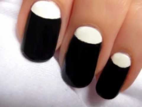 Half Moon Manicure Nail Art - Half Moon Manicure Nail Art - YouTube