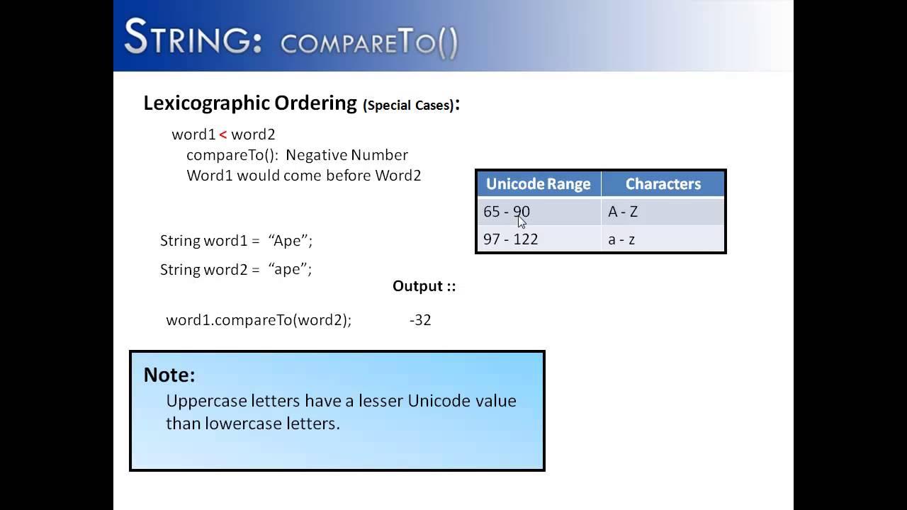 String Compareto Java Youtube