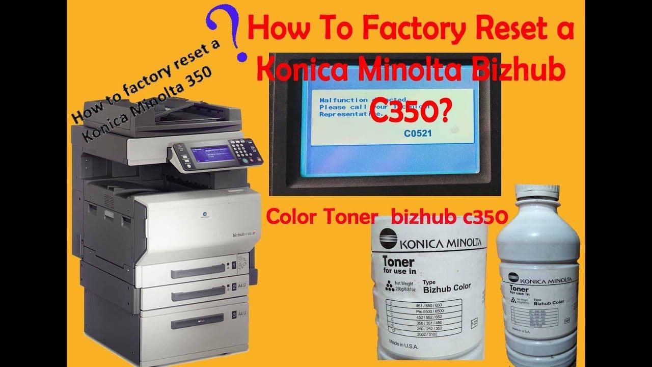 How to factory reset a Konica Minolta bizhub 350
