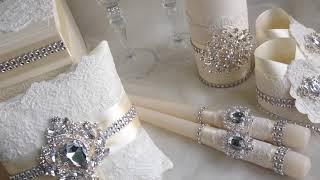Свадебный набор с кружевам и брошами в цвете Айвори