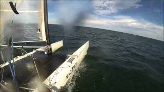 25+ knot winds on an A-Class Cat with near pitchpole @4:25