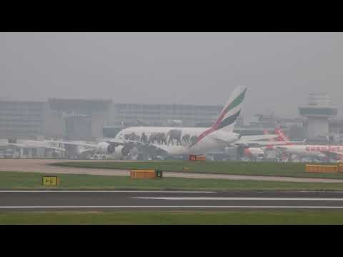 MOUSE GROUNDED EMIRATES AIRLINES EK22 A6-EEI push back and towed Manchester 25/0917