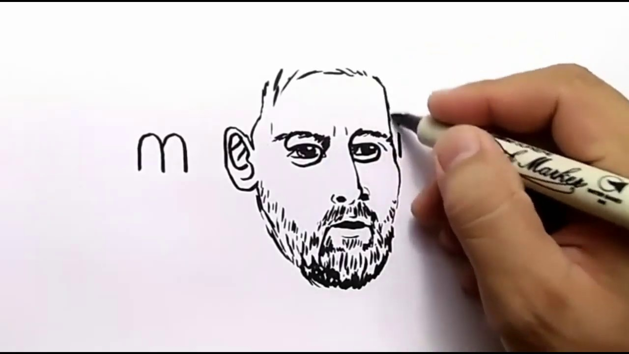 Drawing Messi from his name || amazing drawing || Lionel Messi