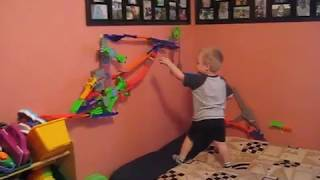 Playing with Hot Wheels Wall Tracks