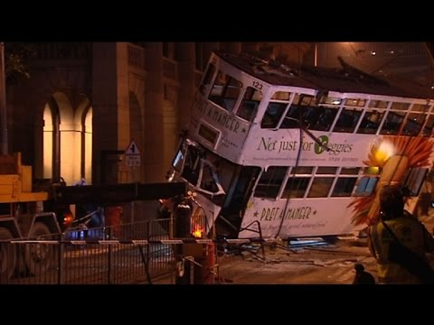 Over a dozen injured in Hong Kong after tram flips over