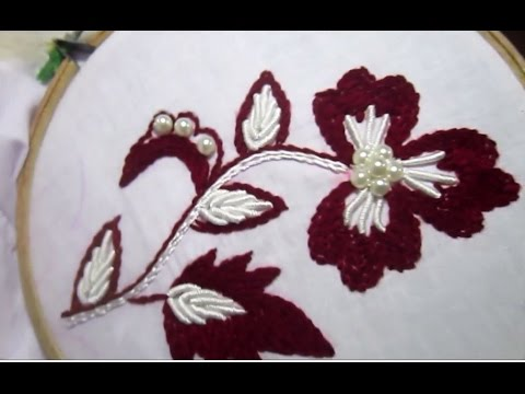 Hand Embroidery Stitches Stem And Bullion Knot Stitch Youtube