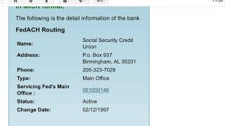 social security credit union routing fedwire disabled ACH WORKING
