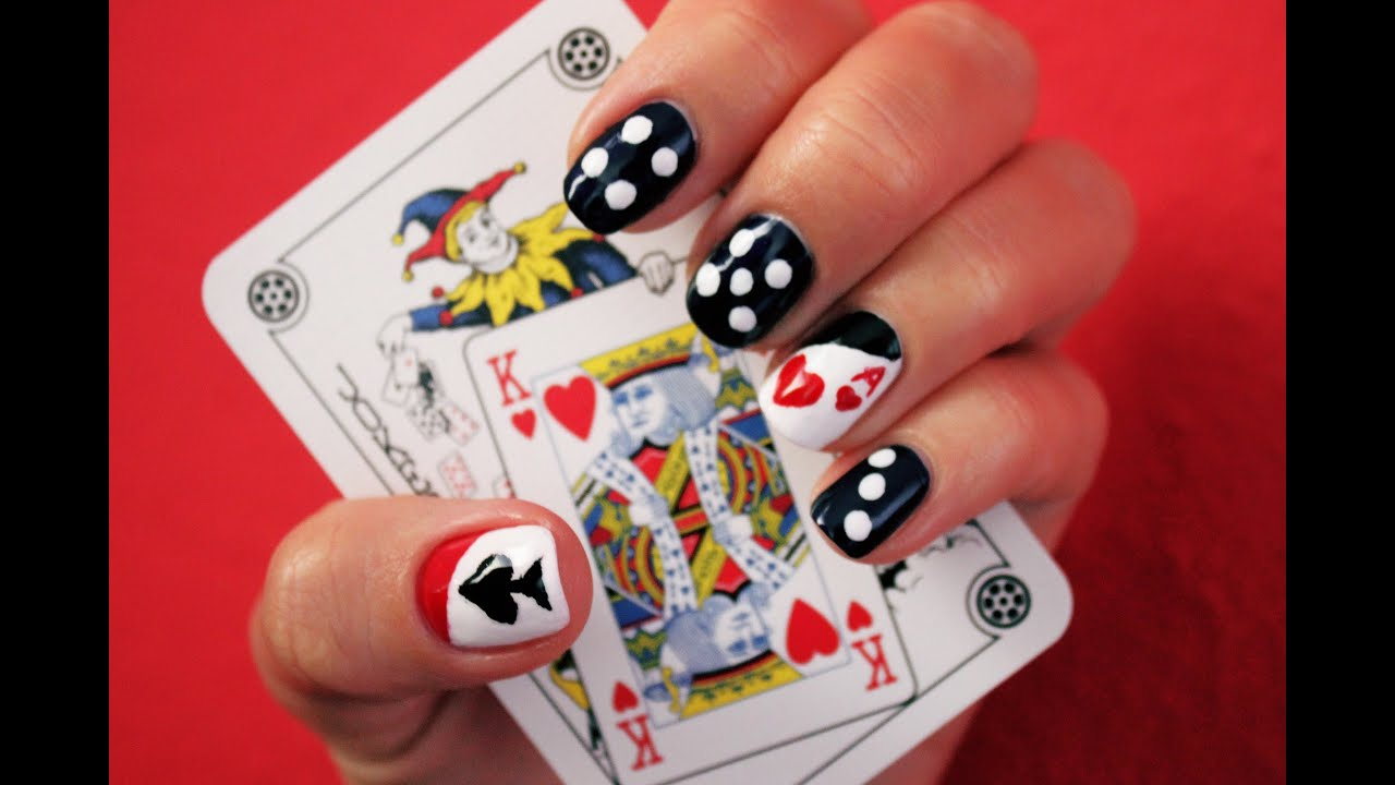 POKER NAILS - easy and fabulous nail design tutorial - YouTube