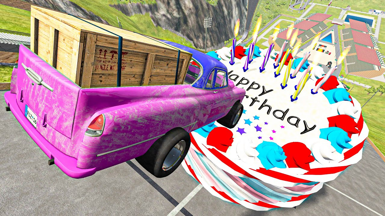 BeamNG.drive Game - Crazy Cars Jumping Over Birthday Cake with Candles   Cars Crashes Compilation