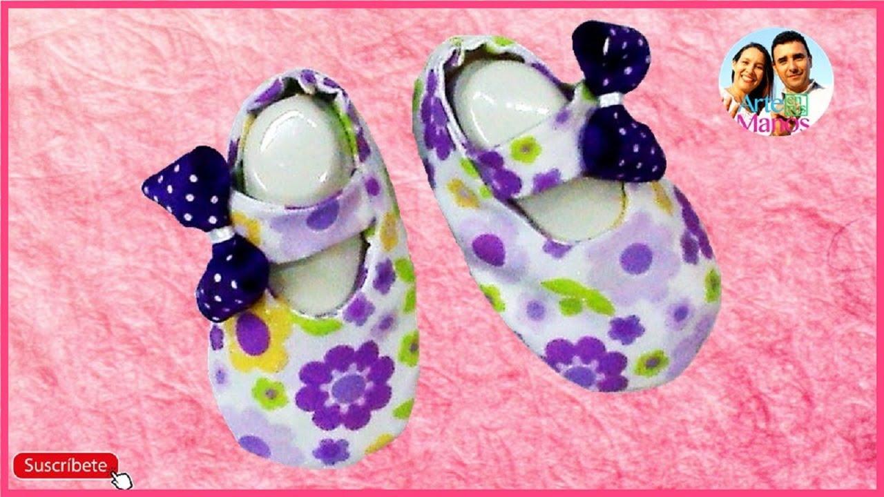 3ac8f4c3d Zapatos en Tela para Bebé paso a paso Arte en Tus Manos - YouTube