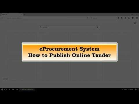 eProcurement - How to upload Tender Online