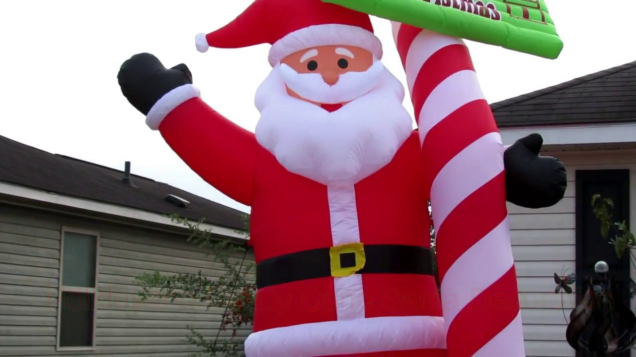 Holidayana 13 Ft Tall Candy Cane Santa Claus Inflatable Christmas Decoration