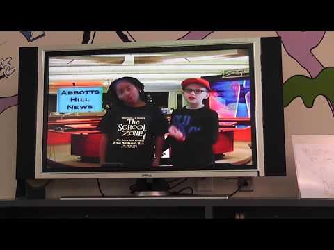 Jordyn delivering the Abbotts Hill Elementary School News