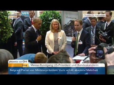 Obama-Besuch in Hannover: Messerundgang des US-Präsidenten und der Bundeskanzlerin am 25.04.2016