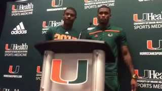 Miami DB Artie Burns and WR Stacy Coley address the media after Miami-VT 10-17-15