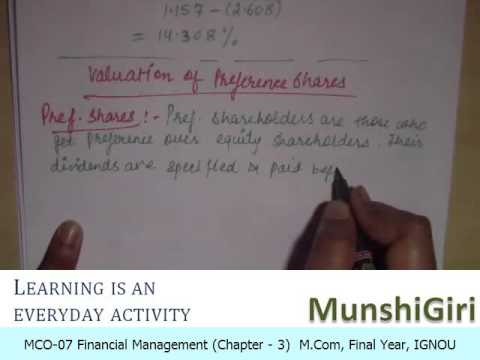 Financial Management Ch 3, Valuation for M.Com Final Year (IGNOU)