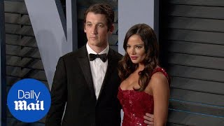 Miles Teller with Keleigh Sperry at Vanity Fair's Oscars party - Daily Mail